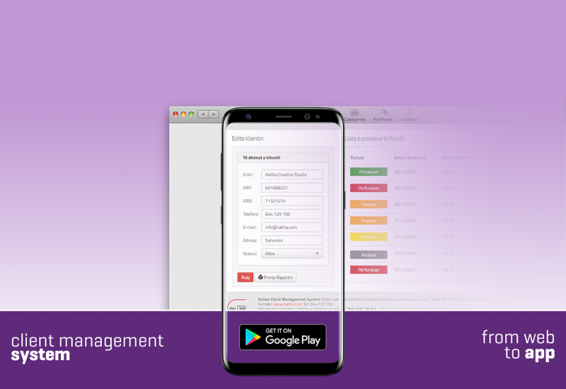 Android App Development, Client Management System